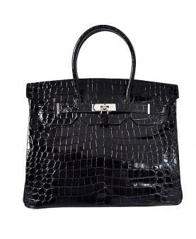 Replica Hermes 40cm Birkin Handbag Black Crocodile Porosus Leather with Silver Hardware-78954