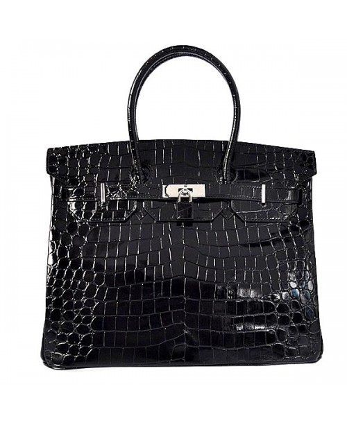 Replica Hermes 35cm Birkin Handbag Black Crocodile Porosus Leather with Silver Hardware-78233