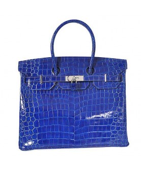 Replica Hermes 35cm Birkin Handbag Blue Crocodile Porosus Leather with Silver Hardware-78245