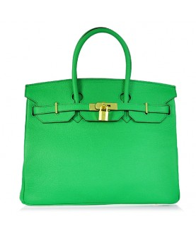 Replica Hermes 35cm Birkin Handbag Candy Collection Green Togo Leather with Gold Hardware-78225