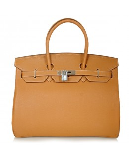 Replica Hermes 40cm Birkin Handbag Camel Togo Leather with Silver Hardware-78969