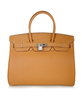 Replica Hermes 35cm Birkin Handbag Camel Togo Leather with Silver Hardware-78256