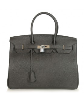 Replica Hermes 35cm Birkin Handbag Black Togo Leather Silver Metal-78308