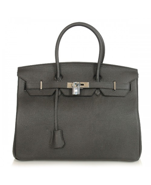 Replica Hermes 40cm Birkin Handbag Black Togo Leather Silver Metal-79003