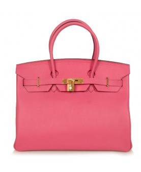 Replica Hermes 35cm Birkin Handbag Pink Togo Leather with Golden Hardware-78343