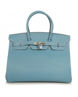 Replica Hermes 40cm Birkin Handbag Blue Jean Togo Leather with Silver Hardware-79022