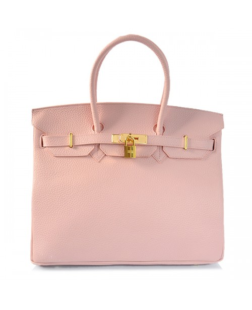Replica Hermes 35cm Birkin Handbag Candy Collection Pink Togo Leather with Gold Hardware-78209