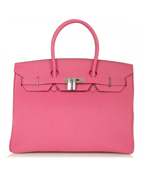 Replica Hermes 35cm Birkin Handbag Pink Togo Leather with Silver Hardware-78279