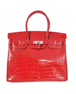 Replica Hermes 40cm Birkin Handbag Red Crocodile Porosus Leather with Silver Hardware-78961