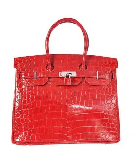 Replica Hermes 35cm Birkin Handbag Red Crocodile Porosus Leather with Silver Hardware-78242