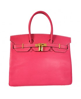 Replica Hermes 35cm Birkin Handbag Plum Red Jaipur Epsom Leather with Gold Hardware-78283