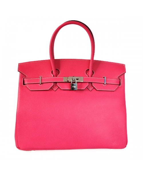 Replica Hermes 35cm Birkin Handbag Plum Red Jaipur Epsom Leather with Silver Hardware-78273