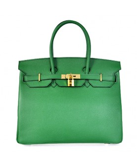 Replica Hermes 35cm Birkin Handbag Green Jaipur Epsom Leather with Gold Hardware-78271
