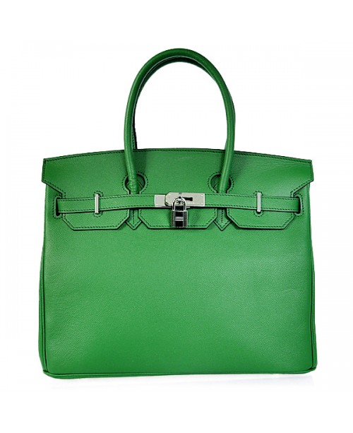 Replica Hermes 40cm Birkin Handbag Green Jaipur Epsom Leather with Silver Hardware-78968