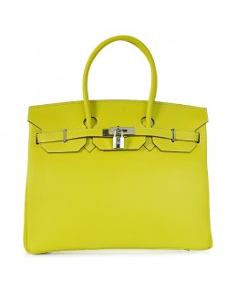 Replica Hermes 40cm Birkin Handbag Candy Collection Lemon Jaipur Epsom Leather with Silver Hardware-79011