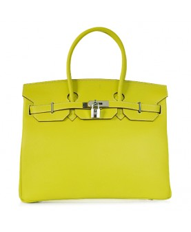 Replica Hermes 35cm Birkin Handbag Candy Collection Lemon Jaipur Epsom Leather with Silver Hardware-78318
