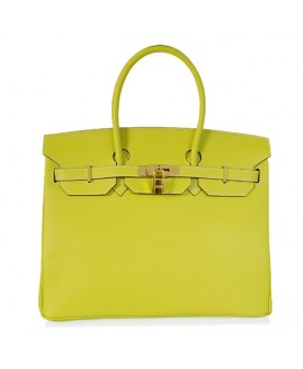 Replica Hermes 35cm Birkin Handbag Candy Collection Lemon Jaipur Epsom Leather with Gold Hardware-78208