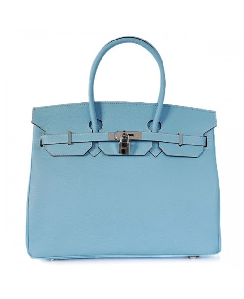 Replica Hermes 35cm Birkin Handbag Blue Jean Jaipur Epsom Leather with Silver Hardware-78299