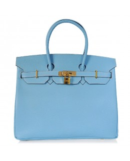 Replica Hermes 35cm Birkin Handbag Blue Jean Jaipur Epsom Leather with Gold Hardware-78226