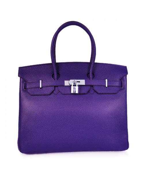 Replica Hermes 35cm Birkin Handbag Purple Iris Togo Leather with Silver Hardware-78284