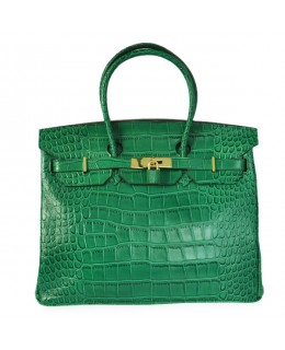 Replica Hermes 35cm Birkin Handbag Green Croc with Gold Hardware-78311