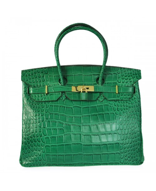 Replica Hermes 40cm Birkin Handbag Green Croc with Gold Hardware-79005