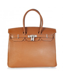 Replica Hermes 40cm Birkin Handbag Brown Togo Leather with Silver Hardware-79023