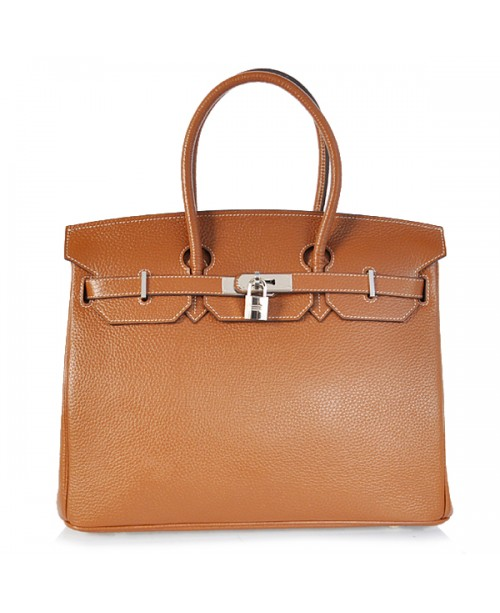 Replica Hermes 35cm Birkin Handbag Brown Togo Leather with Silver Hardware-78337