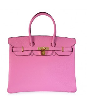 Replica Hermes 35cm Birkin Handbag Candy Collection Pink Togo Leather with Gold Hardware-78302