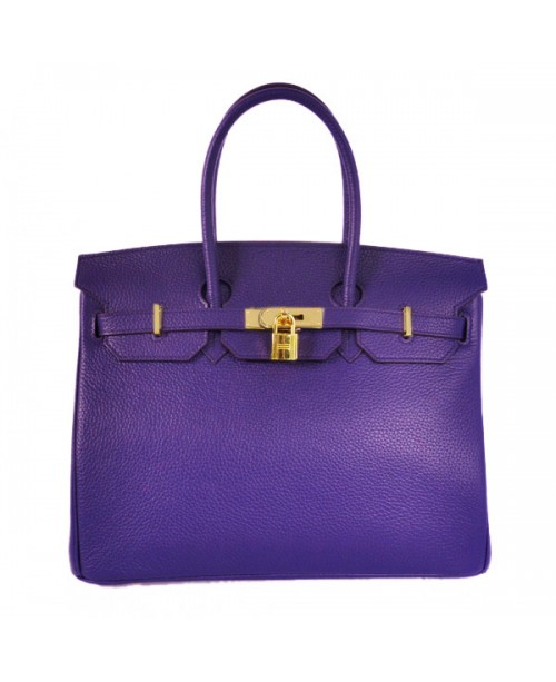 Replica Hermes 35cm Birkin Handbag Purple Iris Togo Leather with Gold Hardware-78238
