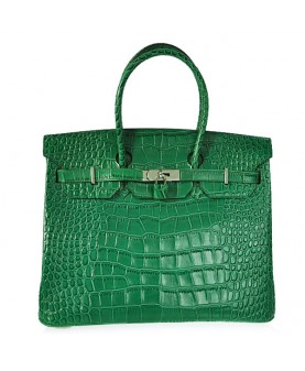 Replica Hermes 40cm Birkin Handbag Green Croc with Silver Hardware-79021