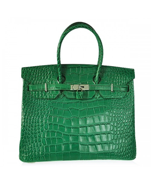 Replica Hermes 35cm Birkin Handbag Green Croc with Silver Hardware-78335