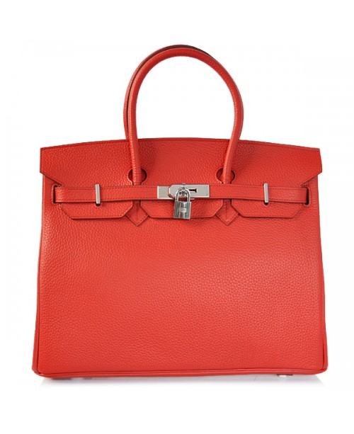 Replica Hermes 35cm Birkin Handbag Red Togo Leather with Silver Hardware-78240