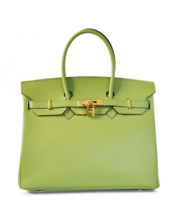 Replica Hermes 35cm Birkin Handbag Green Togo Leather with Gold Hardware-78322