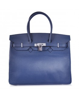Replica Hermes 35cm Birkin Handbag Deep Blue Togo Leather with Silver Hardware-78259