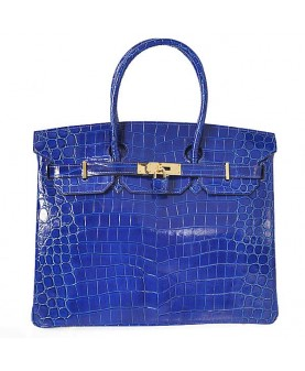 Replica Hermes 40cm Birkin Handbag Blue Crocodile Porosus Leather with Gold Hardware-78972