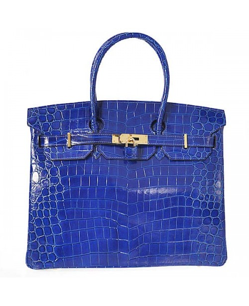 Replica Hermes 35cm Birkin Handbag Blue Crocodile Porosus Leather with Gold Hardware-78260