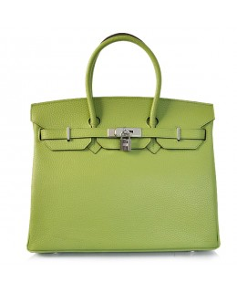 Replica Hermes 35cm Birkin Handbag Green Togo Leather with Silver Hardware-78314