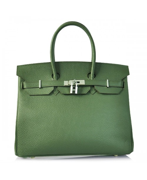 Replica Hermes 35cm Birkin Handbag Deep Green Togo Leather with Silver Hardware-78286
