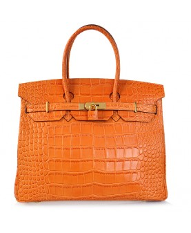 Replica Hermes 35cm Birkin Handbag Orange Croc with Gold Hardware-78340