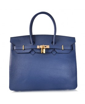 Replica Hermes 40cm Birkin Handbag Deep Blue Togo Leather with Gold Hardware-78947