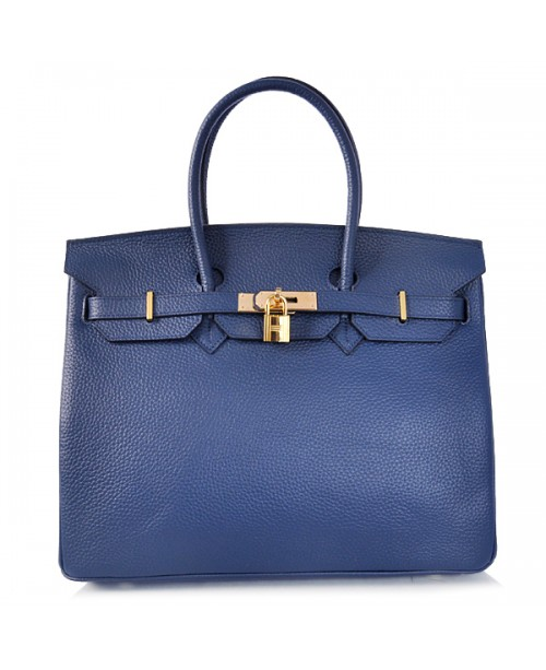 Replica Hermes 35cm Birkin Handbag Deep Blue Togo Leather with Gold Hardware-78220