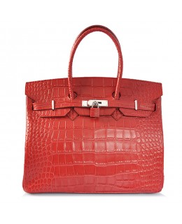 Replica Hermes 40cm Birkin Handbag Red Croc with Silver Hardware-78993