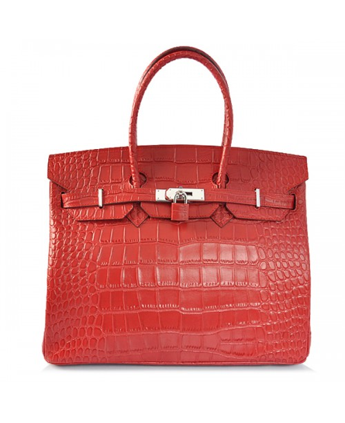 Replica Hermes 35cm Birkin Handbag Red Croc with Silver Hardware-78293
