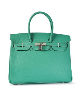 Replica Hermes 40cm Birkin Handbag Candy Collection Green Togo Leather with Silver Hardware-78995