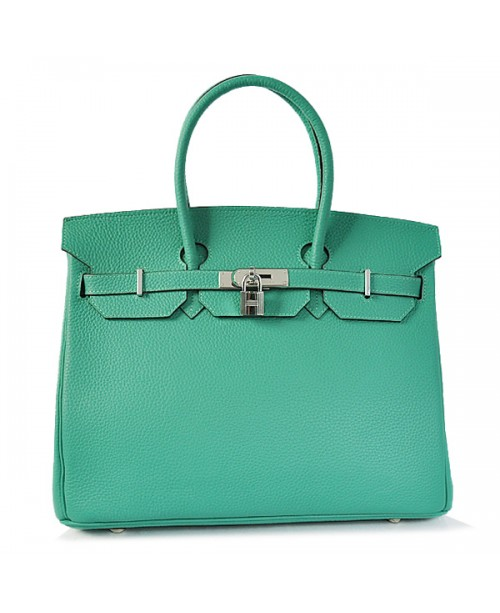 Replica Hermes 35cm Birkin Handbag Candy Collection Green Togo Leather with Silver Hardware-78298