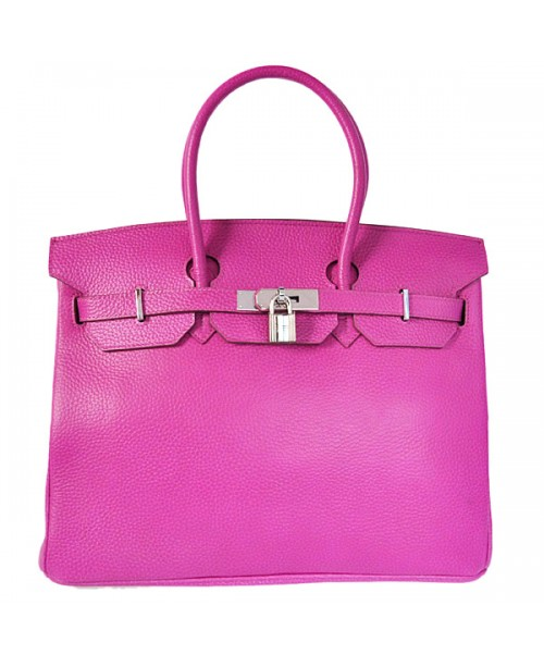Replica Hermes 35cm Birkin Handbag Plum Red Togo Leather Silver Metal-78345