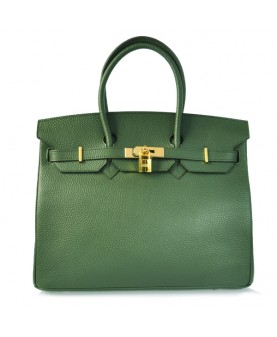 Replica Hermes 35cm Birkin Handbag Deep Green Togo Leather with Gold Hardware-78326