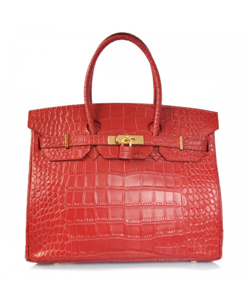 Replica Hermes 40cm Birkin Handbag Red Croc with Gold Hardware-79024