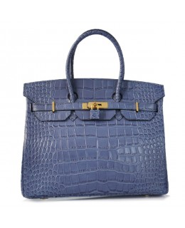Replica Hermes 35cm Birkin Handbag Blue Croc with Gold Hardware-78229